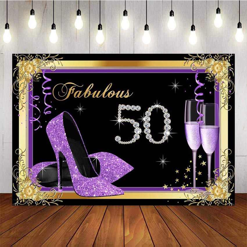 NeoBack Fundo Fotografia Adulto Roxo Diamante Champagne Luxo Senhora 50th Birthday Party Decor Bandeira Pano de Fundo Estúdio de Fotografia