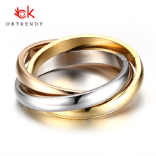 Oktrendy Classic 3 Rounds Ring Sets Women Stainless Steel Wedding Engagement Female Finger Jewelry