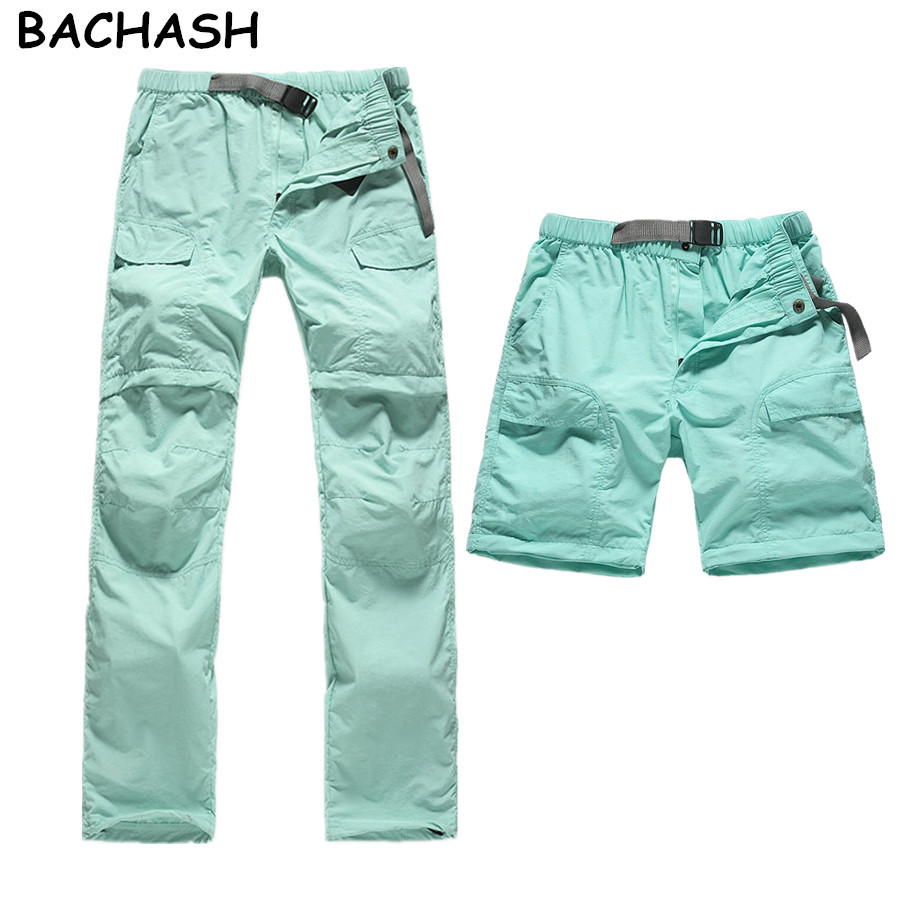 BACHASH Women Quick Dry Work Pants Removable Loose Pants Male Summer Removable Solid Womens Casual Pants S-XXL 6 Pocket 5 Color