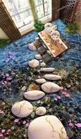 Custom Photo 3d Wallpaper Stone Path Cobblestone Petals 3D Floor Three Dimensional Painting