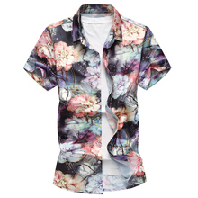 New Hawaiian Men Shirt Big Size 7XL 2018 Summer Short Sleeve Plus Size Flowers Floral Printed Slim Fit Casual Beach Wear Shirts