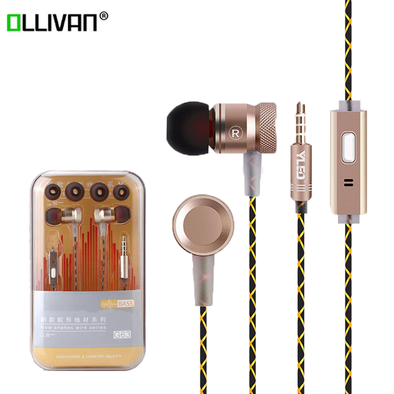 Original G63 Sport In Ear Earphone Metal Bass Stereo Music Earphones with Mic Wired noise reduction headsets for Smart Phones