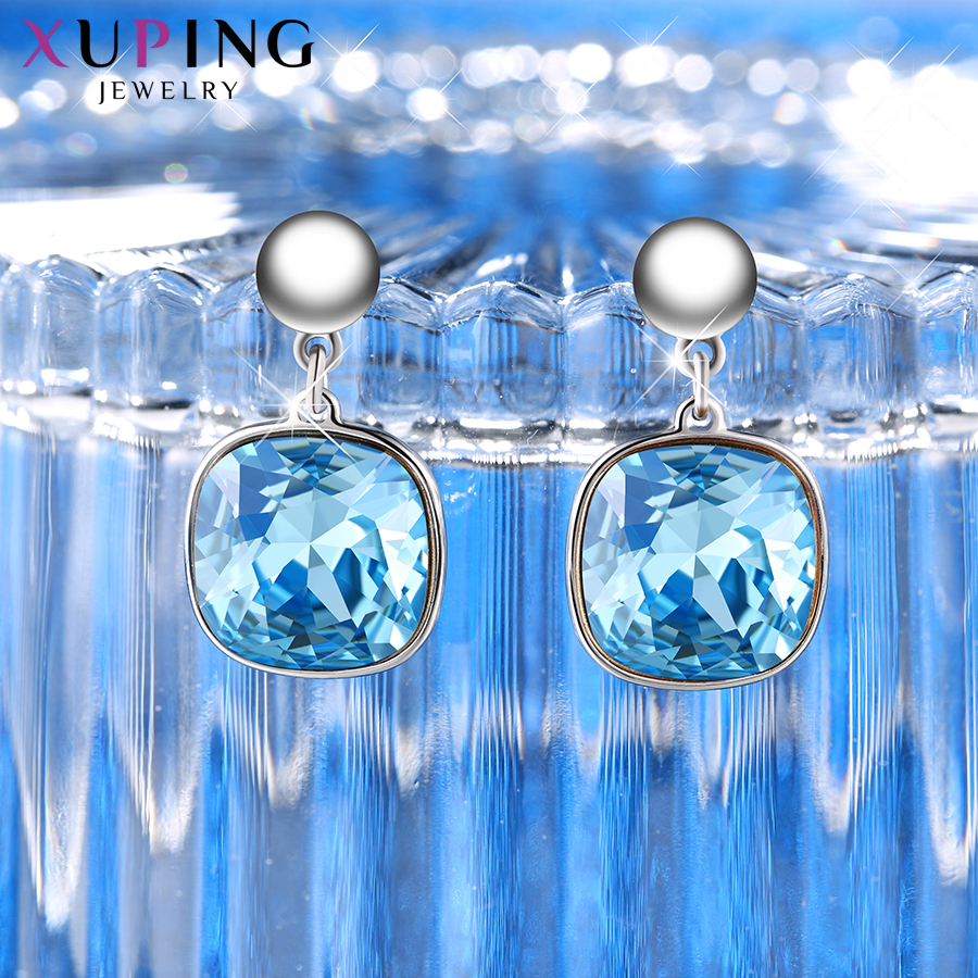 HTB1mNX6XtjvK1RjSspiq6AEqXXaH - Xuping Square Earrings Crystals from Swarovski Luxury Vintage Style Jewellery Women Girl  Valentine's Day Gifts M94-20493