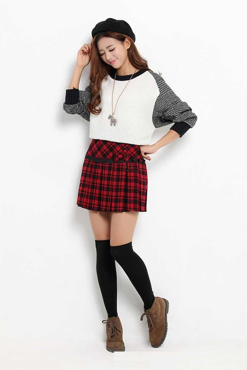 637eb54ffa9 ... 2018 осенние модные популярные Стиль плиссированные короткие юбки Для  женщин Красный Шотландия юбка Шотландка килт клетчатая
