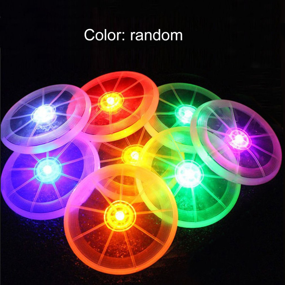 OCDAY 1pcs LED Flying Disk Luminous Flashing Flying Disk Toy Random Color For Kids Baby Light Outdoor Toy Pet Play Funny Toys