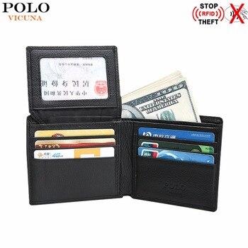 VICUNA POLO RFID Engelleme Hakiki deri cüzdan Erkekler Için Bifold Iş Erkek Cüzdan Büyük Kapasiteli Deri para klipsli cüzdanlar