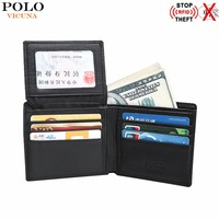 VICUNA POLO RFID Blocking Wallet Short Design Genuine Leather Man Wallet Bifold Casual Business Men S