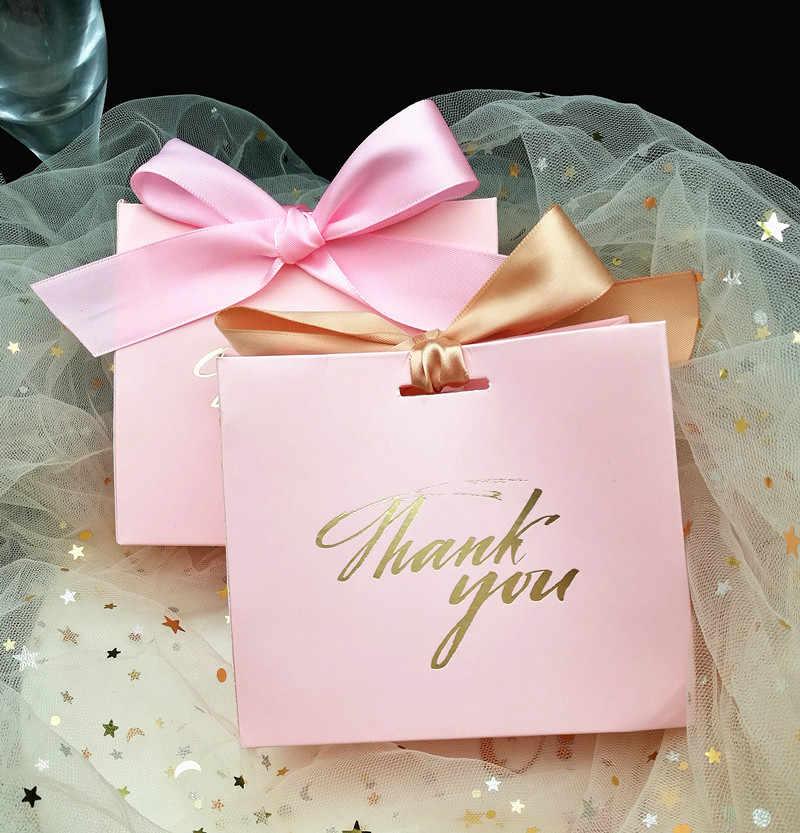 25 шт спасибо печатные розовые конфеты сумка коробка для подарка украшения/события вечерние поставки/свадебные любимые подарочные коробки