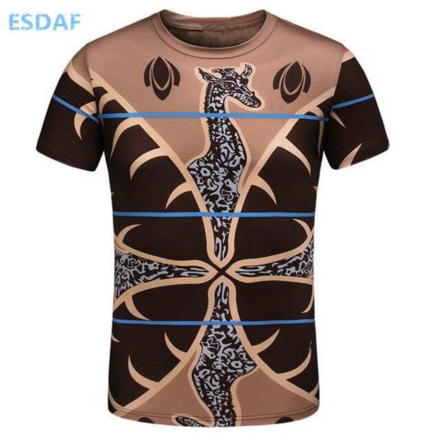 7bae6fcfac61 ESDAF Verão Os Novos Homens Da Moda Impressão Mangas Curtas Polos T Marca  de Algodão Respirável