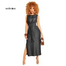 Echoine Women Casual Denim Dress Sashes O-Neck Sleeveless Elastic Waist Fashion Leisure High Split Mid-Calf Female Streetwear