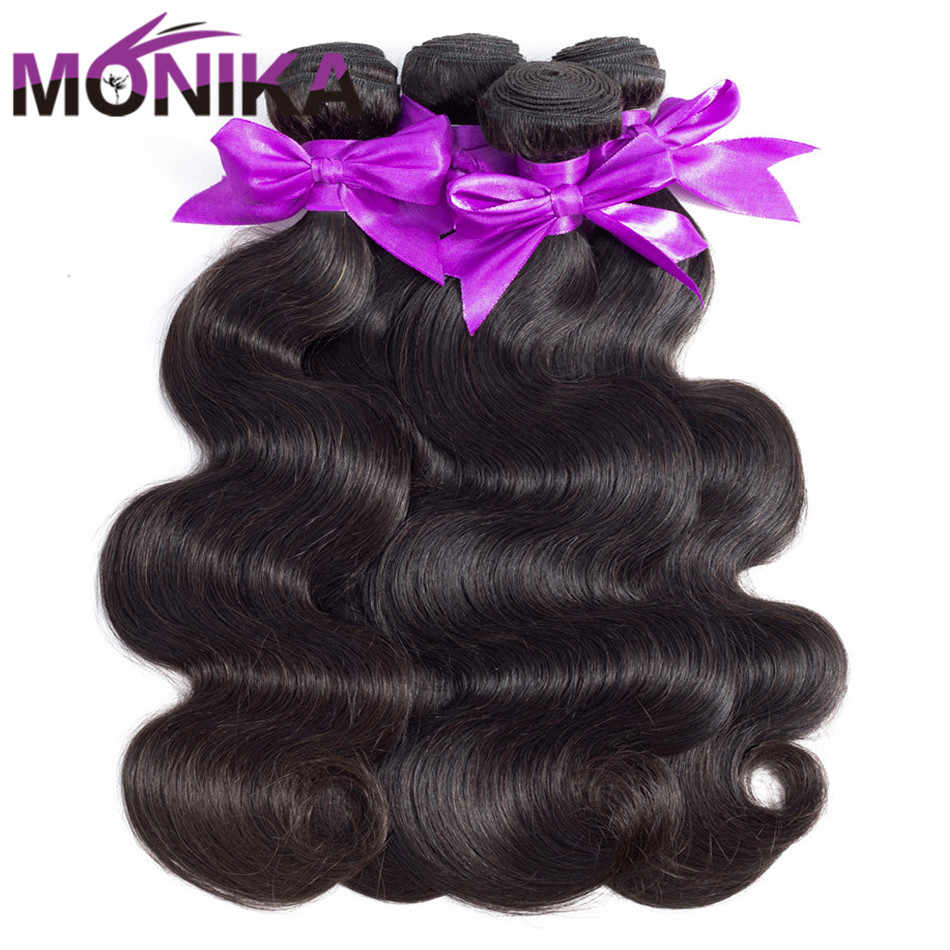 Monika Hair Tissage Brazilian Body Wave Bundles 3/4 Bundle Deals 100% Human Hair Weave Bundles Non Remy Hair 8-30 inch Bundles