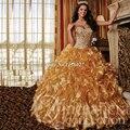 2017 Hot sale Ouro Quinceanera dresses vestido de baile para 15 anos Organza Querida Vestidos De 15 Años Formais do baile de Finalistas Do Partido vestido