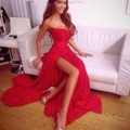 Red prom dress piso-longitud sin mangas de noche formal dress festival vestido longo gasa hombro sweet prom dress 2017 caliente