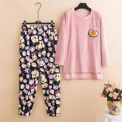 Bat Mouwen Pijamas Vrouwen Plus Size Pyjama Sets Herfst Winter Pijama Nachtkleding Zachte Flanellen Thuis Kleding pyjama femme 65 -120kg