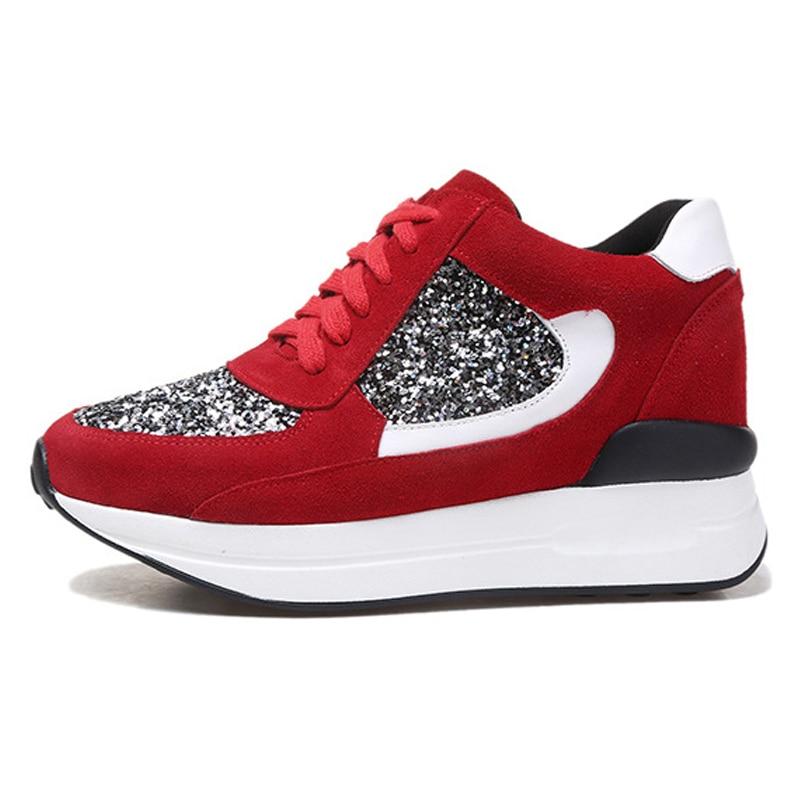 Prix pour Femme Véritable Planche À Roulettes En Cuir Chaussures Chaussures de Jogging Léger Rembourrage Marche Augmenté Sneakers Femme Sports de Plein Air AH808
