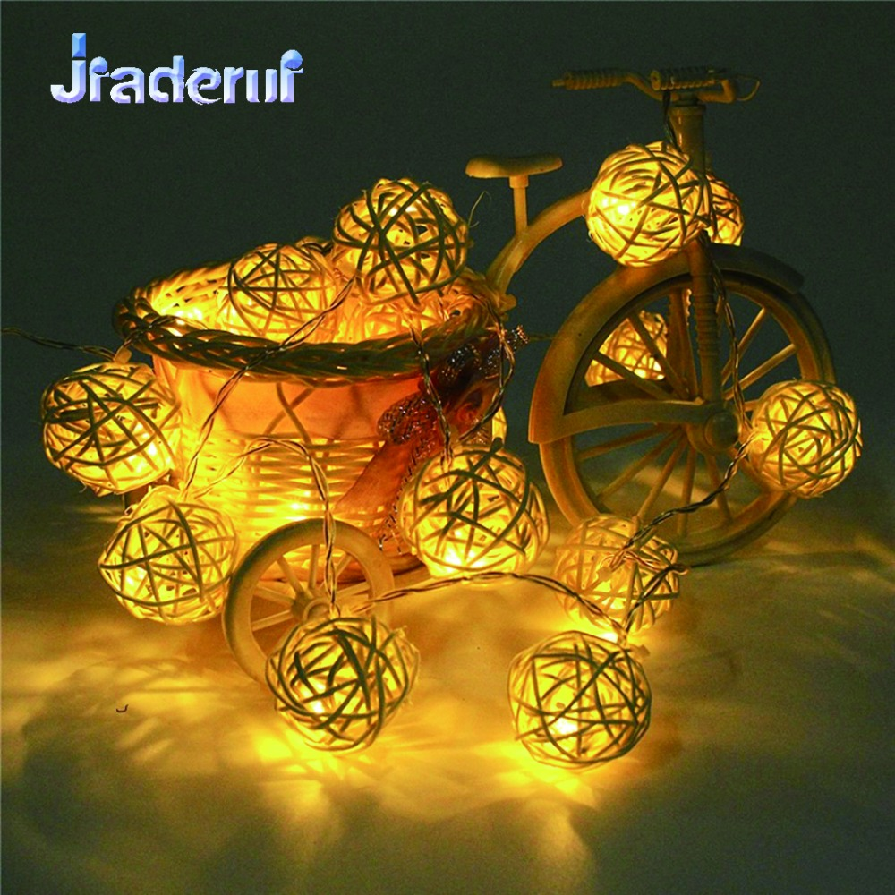Jiaderui LED Sepaktakraw Light String 2M 20 LEDs LED Fairy Party Christmas Holiday Decor Handmade Rattan Balls String Lights