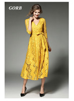 2017 Spring Autumn Newest Europe Hot Sales Women Good Quality V Neck Lace Yellow Long Dress