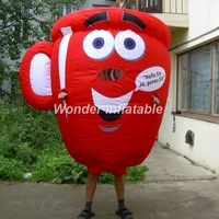 2m lovely inflatable coffee cup replica mascot costume balloon moving cartoons for advertising