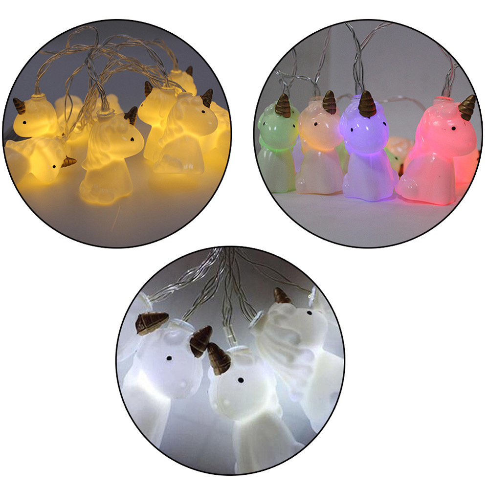 1.5M 10 Lights Battery Powered Cute Unicorn Shaped LED String Lights Holiday lighting for Party Home Decoration DIY Light