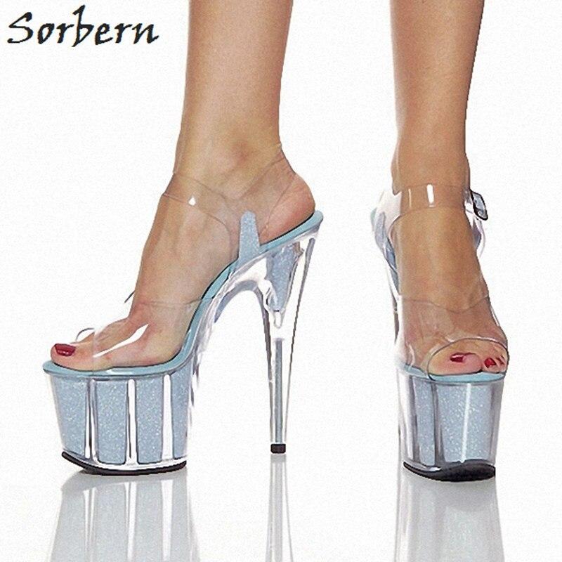 Здесь продается  Sorbern Light Blue Transparent Platform Women Sandals 15Cm Ultra High Heels Plus Size Sandals Summer Shoes Shoes Clear Heels  Обувь