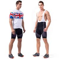 Men Plus Size Cycling Riding Clothes Set Breathable Jersey Sets Short Sleeve Reflective Strip Design Suspender Trousers