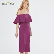 Green Home Elegant Tube Maternity Party Dress Mid-Calf Summer Breastfeeding Dresses for Pregnant Woman Clothing Modal