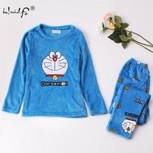 Outono e inverno conjuntos de pijamas femininos grosso quente coral veludo terno flanela manga longa feminino 2 pçs gatinho impressão calças pijamas