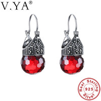 V YA Pure 925 Sterling Silver Earrings 2017 High Quality Vintage Red Green Earrings For Women