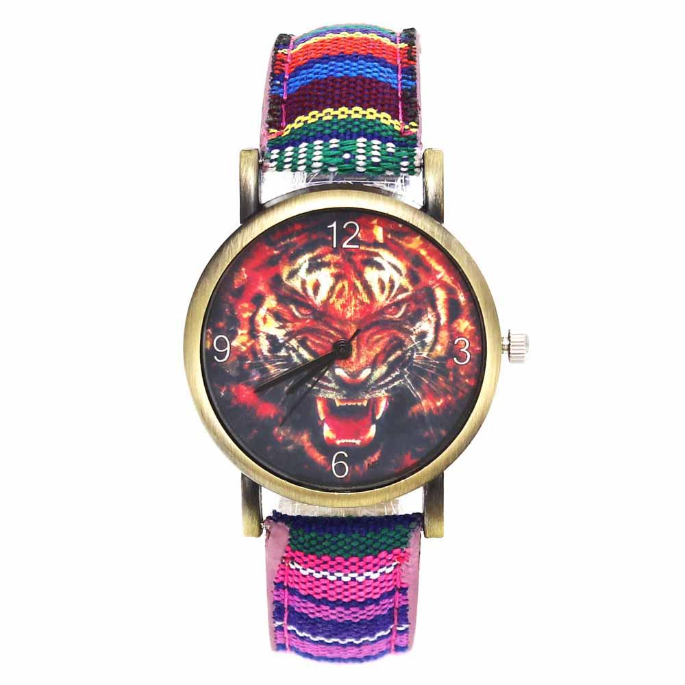 Tiger Head Ferocious Animal Pattern Watches Fashion Casual Men Women Stripes Denim Wristband Band Sport Quartz Wrist Watch