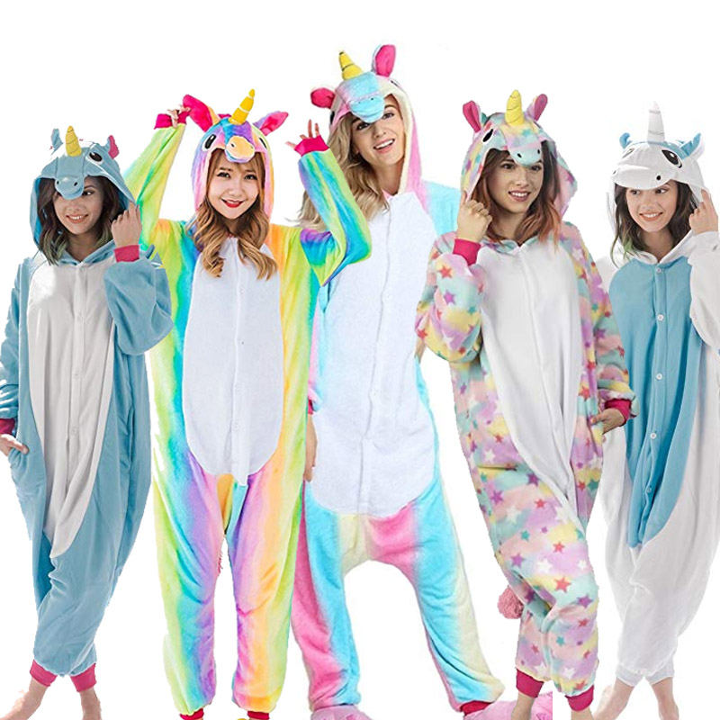 Greywalnut Unisex Pegasus Halloween Flannel Animal Autumn Unicorn Stitch Dinosaur   Pajamas     Sets   Cartoon Sleepwear For Women Men