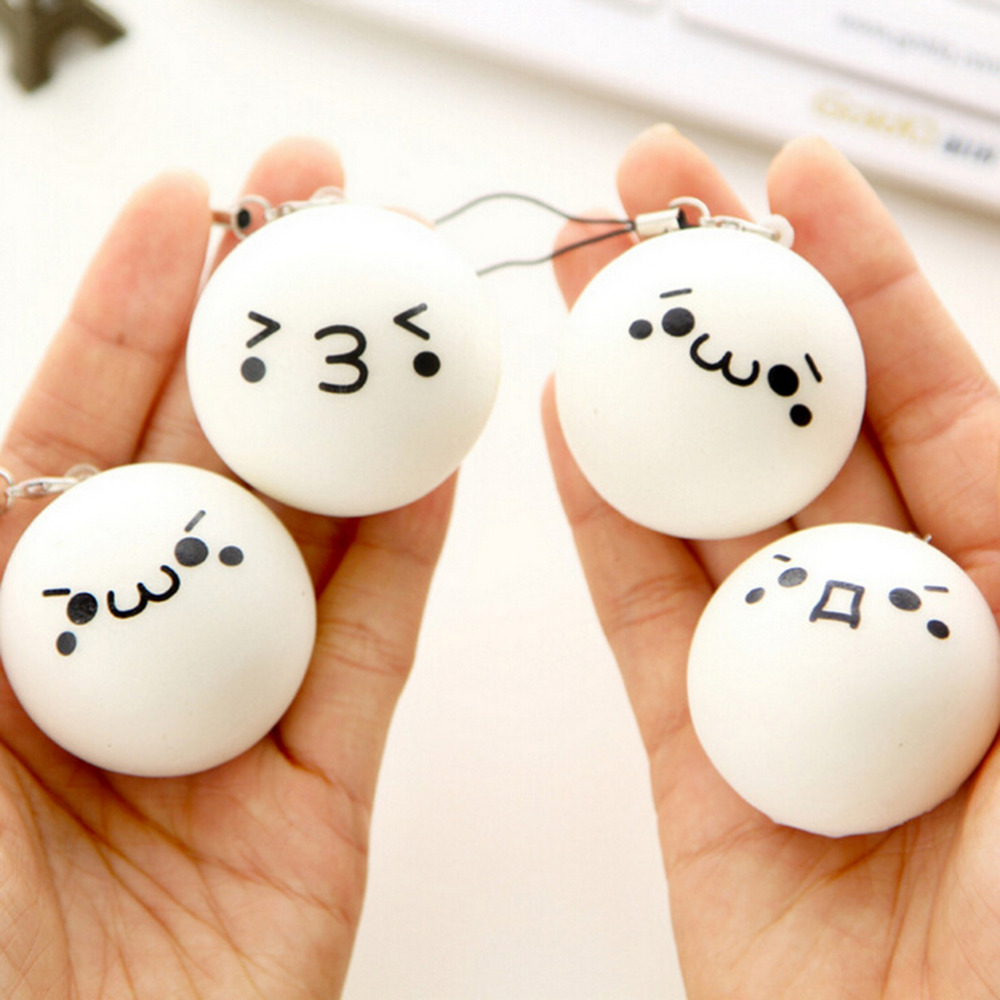 Squishy shop sale - Jetting Hot Sale High Quality Cute Cartoon Face Squishy Buns Bag Key Mobile Phone Straps Pendant 4cm Chain Cellphone