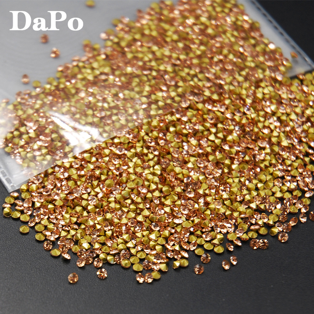 SS6-SS20 1440Pcs Champagne Color Glass Crystal Point Back Rhinestones  Chaton Glue Beads Stones Wedding Dress DIY 1115cd73c299