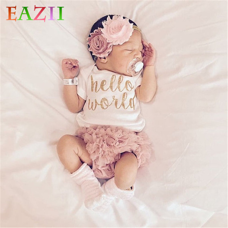>EAZII Hello World Print Newborn Infant <font><b>Baby</b></font> <font><b>Girl</b></font> Romper Jumpsuit With Underwear Short Sleeve Sunsuit Summer <font><b>Clothes</b></font> Outfit 0-24M