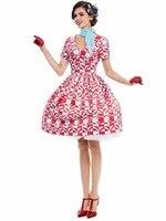 Sisjuly Women Vintage Dresses Elegant Style Summer Dress V Neck Design Geometric Pattern Party Midi Dresses