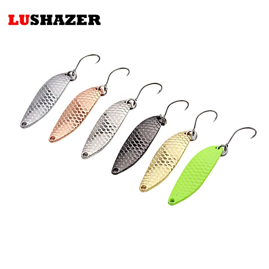 6pcs/lot spoon bait fishing 2g/33mm 3g/38mm metal jig lures isca artificial fishing bait spinners trout ice winter goture ice fishing baits metal jig drop jig grub spoon 0 6 6 2g hard artificial bait carp fishing accessories lure box 40pcs