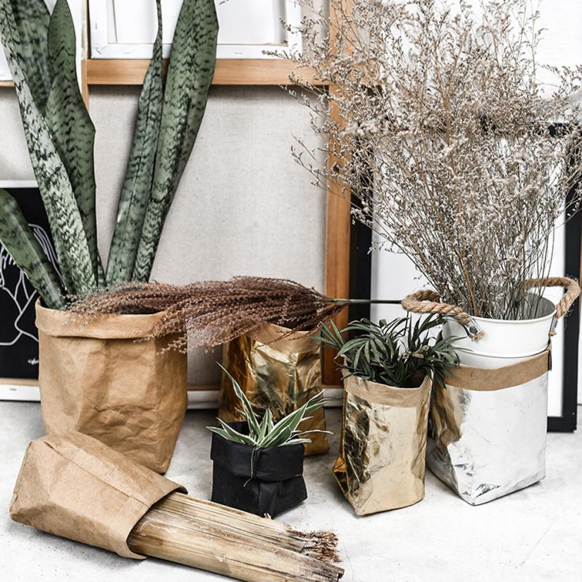 7 Colors Washable Kraft Paper Bag Plant Flowers Pots Multifunction Home Storage Bag Reuse cosmetics organizer 1PC