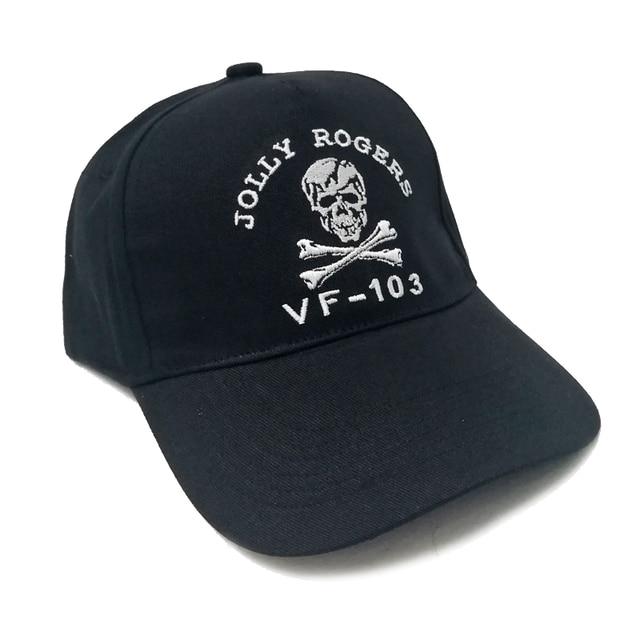 US NAVY VF-103 Jolly Rogers Skull Black Baseball Cap Hat Cosplay Strapback  Casual Embroidered Basecap Mens Boys Collectible Gift 3bbd5649bc66