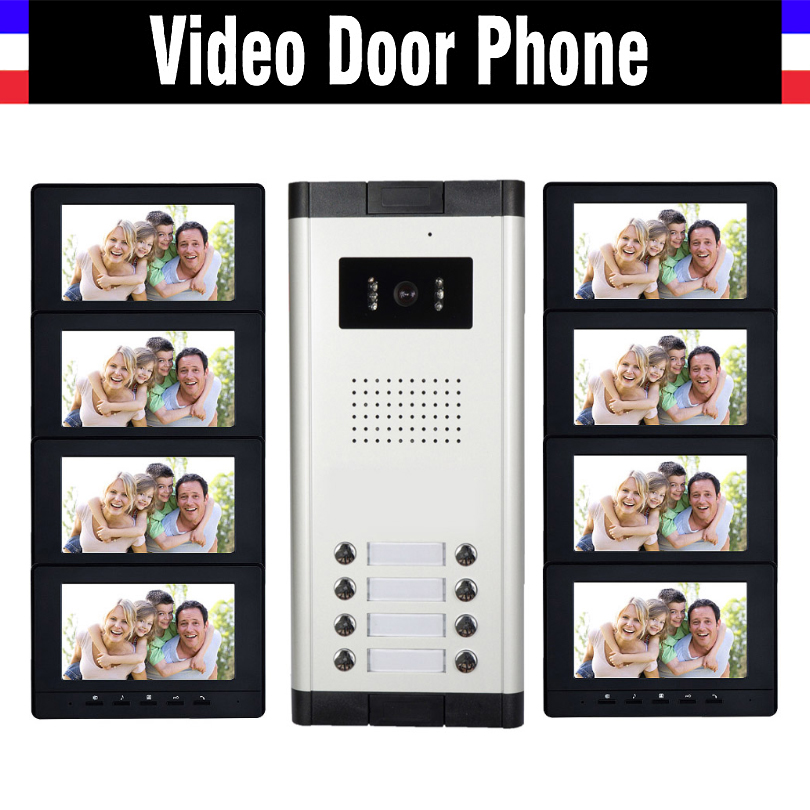 8 Units Apartment Video Intercom System 7 Inch Monitor Video Door Phone Intercom System Wired  Home Video Doorbell Kit