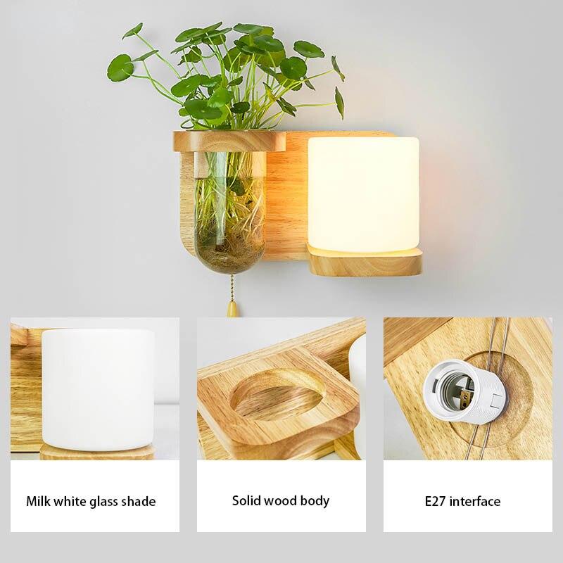 Nordic Hout Wandlamp met Hydrocultuur Succulenten Bloem Glas Pot voor Woonkamer Naast Light Blaker Wandlamp Muur Art - 4