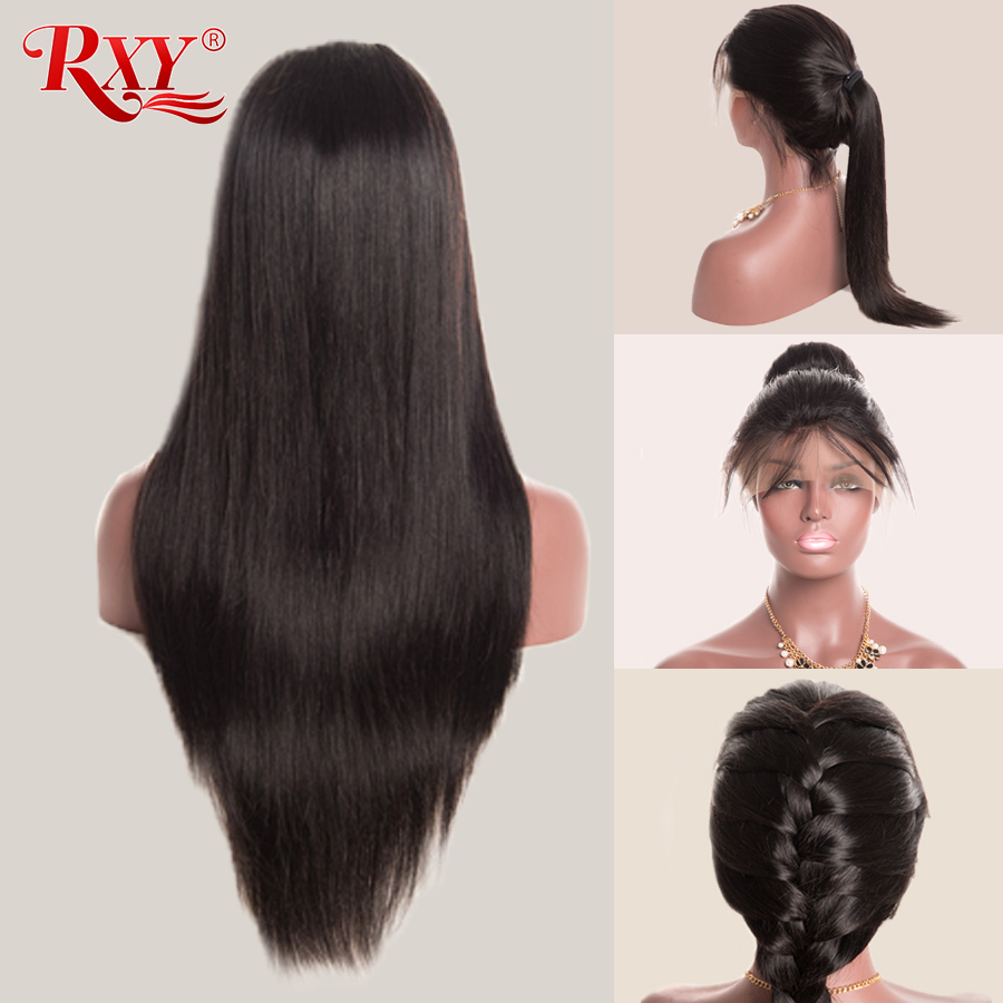 RXY Glueless Синтетические волосы на кружеве человеческих волос парики для черный Для женщин бразильский Прямо человеческих волос, парики, круже...