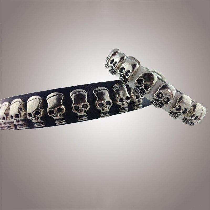 Silvel crâne clouté accessoires réglable doux en cuir véritable colliers de chien pour petit moyen grand chiens collier chien cuir