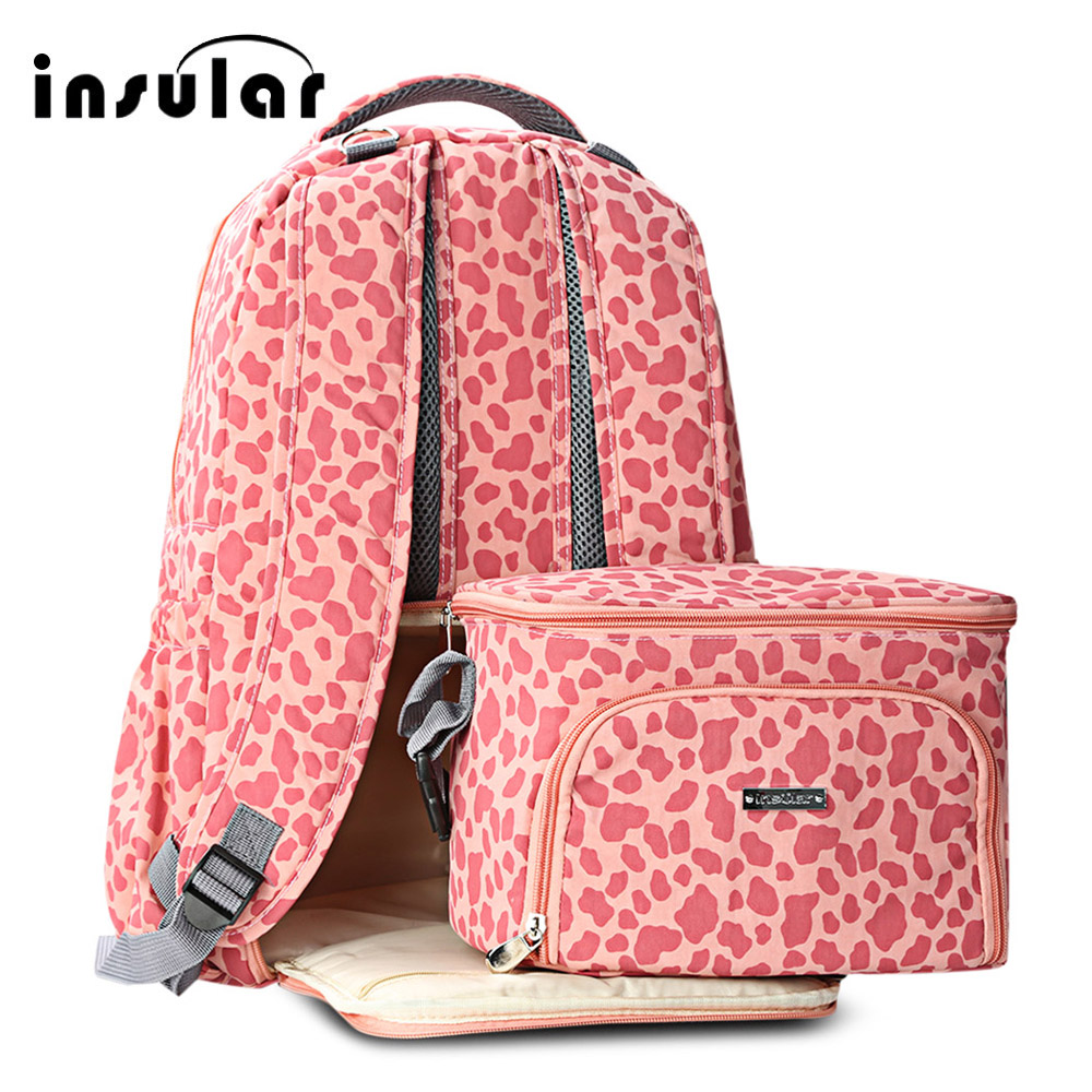 Insular Nappy Bag 2pcs Mummy Maternity Baby Nappy Diaper Backpack Food Lunch Bag Travel Backpack Designer Nursing Bag Baby Care fashion cute panda baby mummy diaper nappy bags keep fresh lunch breast milk bag thermal portable travel picnic hobos baby care