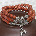Vintage fashion factory price unique sandstone multilayer bracelets for women round beads 6mm jewelry making B2225