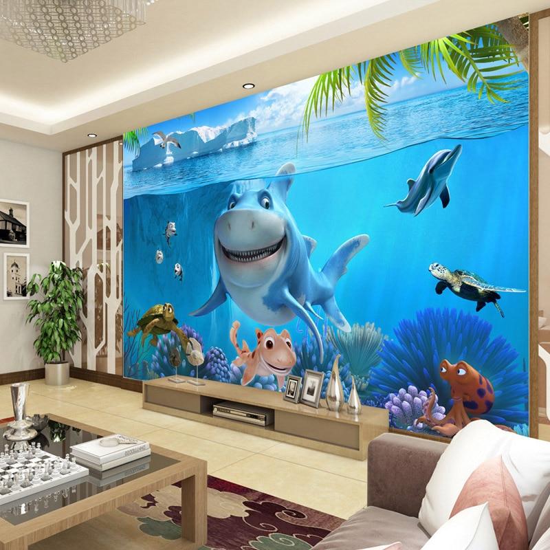 Animated Fish Tank Wallpaper 3d Cute Shark Wallpaper Underwater World Wall Mural Custom