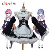Coshome Re Zero Cosplay Dress Costume Ram Rem Maid Servant Suits Halloween Costume Re Life In