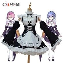 Coshome Re:zero Ram Rem Cosplay Dress Costumes Wigs Maid Ser