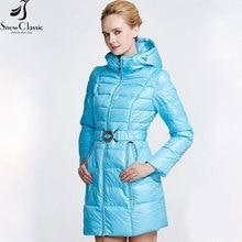 Snow Classic Новая Зимняя Коллекция пуховик зимний женский Парка ярких цветов из полиэстра Куртка с капюшеном Пуховик высокого качества 14420
