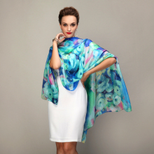 Blue Silk Printed Summer 100% Mulberry Silk Long Scarf Shawl Beach Cover-ups