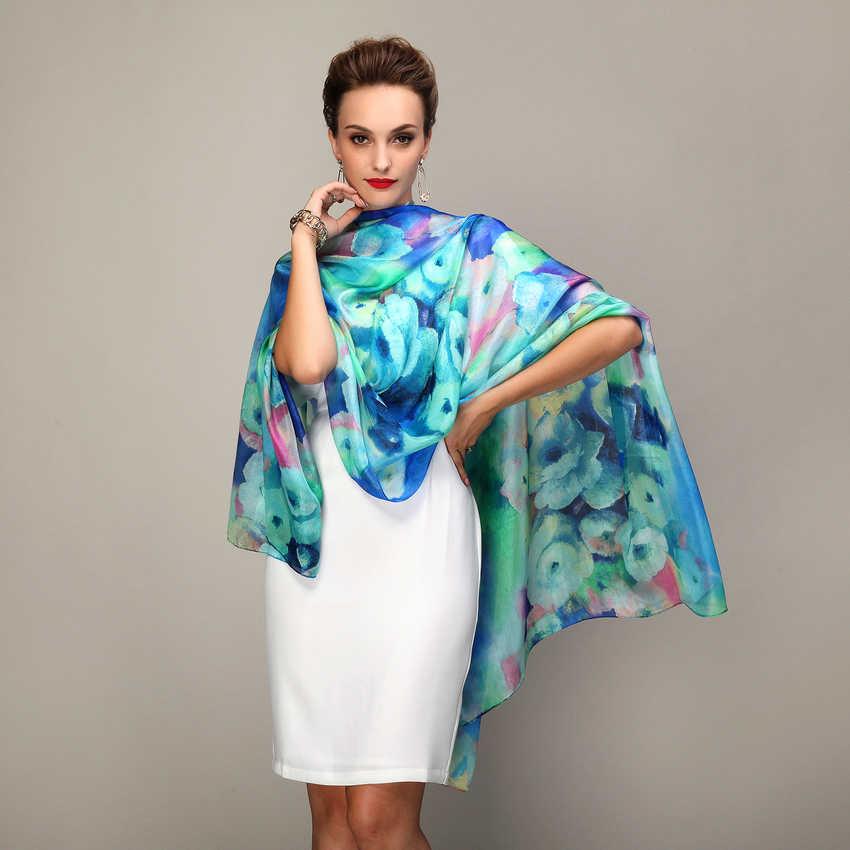 2016 frauen Winter Lange Schal Schal Frühling Herbst Weibliche Blau Seide Schals Gedruckt Sommer 100% Mulberry Silk Strand Abdeckung- ups