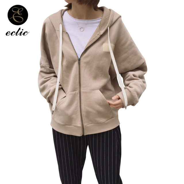 ECTIC Suede Sweatshirt Zip Up Kpop Blackpink Poleron Mujer 2018 Korean Long Sleeve